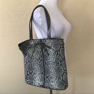 New Banana Republic Gray Snake-Print Leather Tote